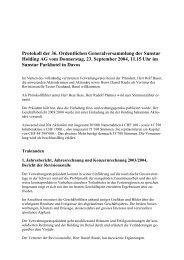 Protokoll der 36. Ordentlichen Generalversammlung der Sunstar ...