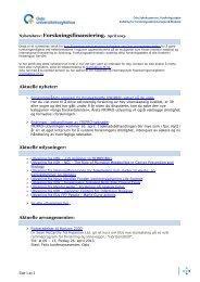 Nyhetsbrev, Forskningsfinansiering. April 2013 - Oslo ...