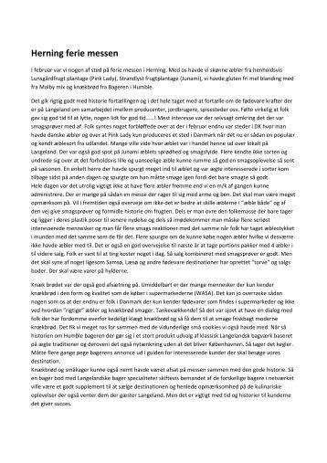 Noter fra Herning ferie messen med fødevarer - Langeland