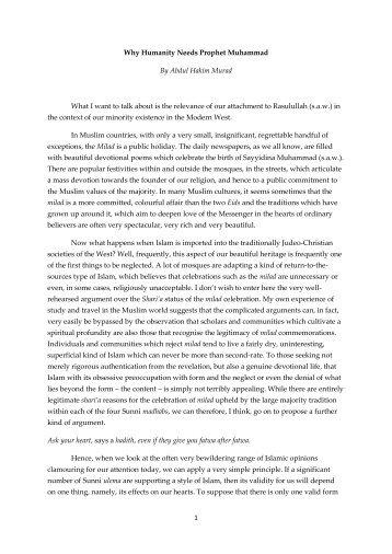 1 Why Humanity Needs Prophet Muhammad By Abdul Hakim Murad ...
