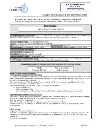 Aide aux élèves en difficulté - Académie d'Orléans-Tours
