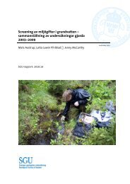 Screening av miljögifter i grundvatten - Sveriges geologiska ...