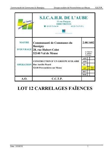 Devis descriptif des travaux lot n 9 carrelage for Cctp architecte