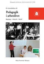 En introduktion till Pedagogik i arbetslivet. Begrepp - Pedagogiska ...