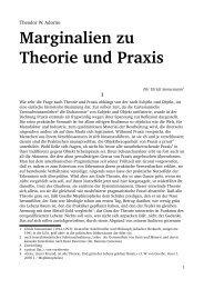 Theodor W. Adorno – Marginalien zu Theorie und Praxis - e*camp