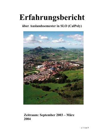 Erfahrungsbericht aus dem WS 2003/2004