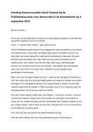 Toespraak Voorzitter Kloosterkerk op 4 september ... - Tweede Kamer