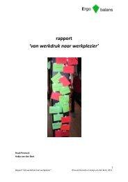 rapport 'van werkdruk naar werkplezier' - Ergo Balans