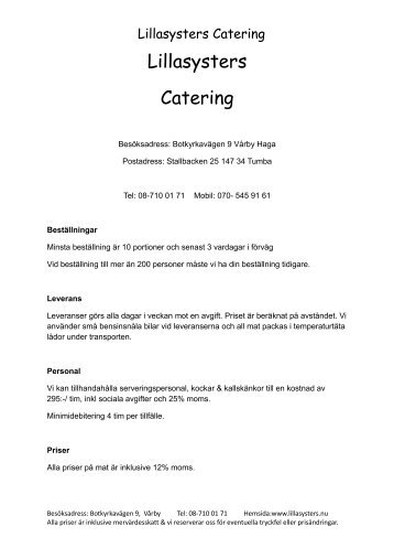 Lillasysters Catering
