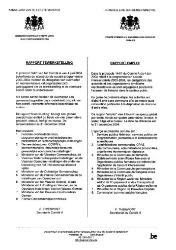 rapport tewerkstelling rapport emploi - ACV Openbare Diensten