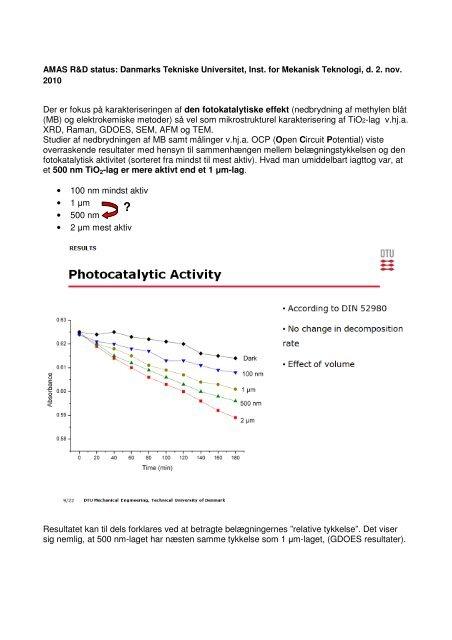 Der er fokus på karakteriseringen af den fotokatalytiske effekt ...