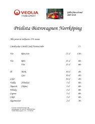 Prislista Bistrovagnen Norrköping - Veolia Transport