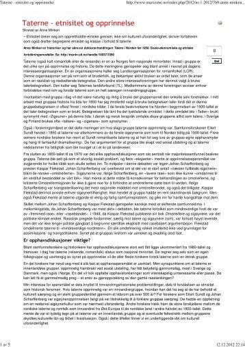 Taterne - etnisitet og opprinnelse - Landsorganisasjonen for ...