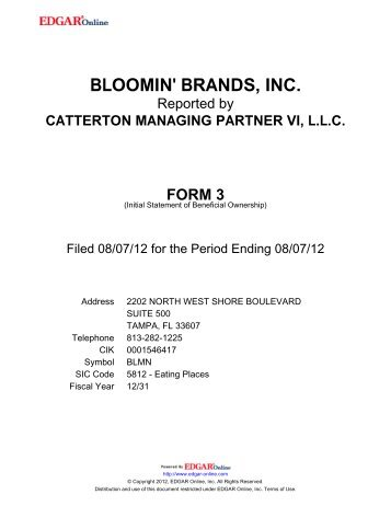 BLOOMIN' BRANDS, INC. - Shareholder.com
