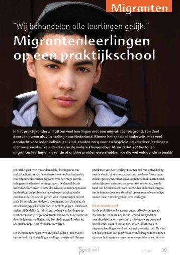 Migrantenleerlingen op een praktijkschool. Bron: Speziaal ... - LOWAN