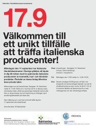 Inbjudan - Italienska Handelskammaren i Sverige