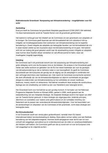 1 Kabinetsreactie Groenboek 'Aanpassing aan klimaatverandering ...