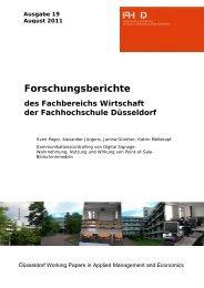 Forschungsberichte des Fachbereichs Wirtschaft der ... - OPUS - hbz