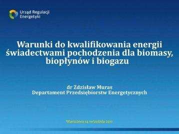 Zdzisław Muras, URE_Warunki do kwalifikowania energii ...