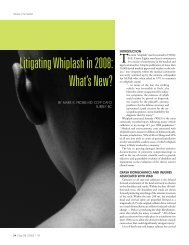 Litigating Whiplash in 2008: What's New? - Chronic Back Pain Clinic