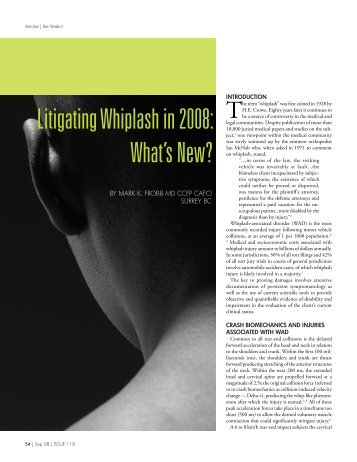 Litigating Whiplash in 2008: What's New? - Chronic Back Pain Clinic