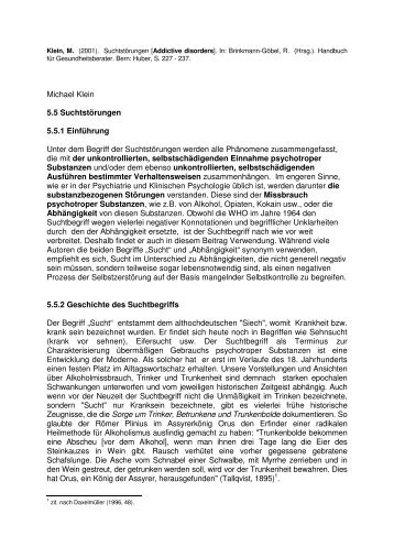 Michael Klein 5.5 Suchtstörungen 5.5.1 Einführung Unter dem ...