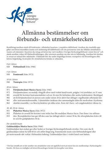 Allmänna bestämmelser - Sveriges Kyrkosångsförbund