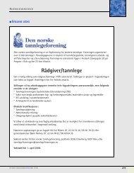 Rådgiver/tannlege - Den norske tannlegeforenings Tidende