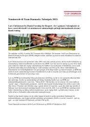 Nominerede til Team Danmarks Talentpris 2012: - DBU