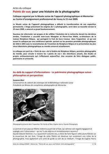 Points de vue; pour une histoire de la photographie - Memoriav