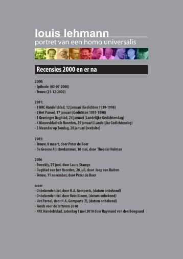 Recensies 2000- heden - Louis Lehmann
