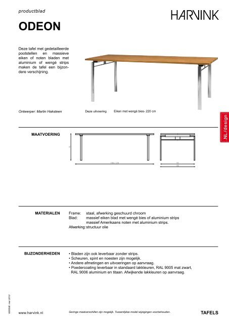 Harvink Design Salontafel.Productblad Tafels Harvink