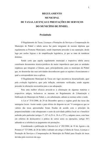 REGULAMENTO MUNICIPAL DE TAXAS, LICENÇAS E ...