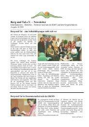 Newsletter Ausgabe 1/2005 - Berg und Tal e.V.
