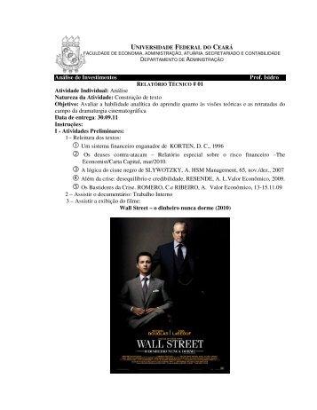 Análise de Investimentos Prof. Isidro Atividade Individual: Análise ...