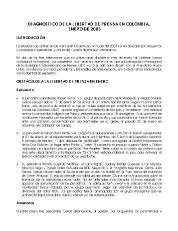 DI AGNOST I CO DE LA LI BERT AD DE PRENSA EN COLOMBI A ...