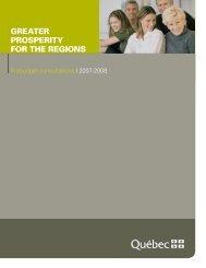 greater prosperity for the regions - Budget - Gouvernement du Québec