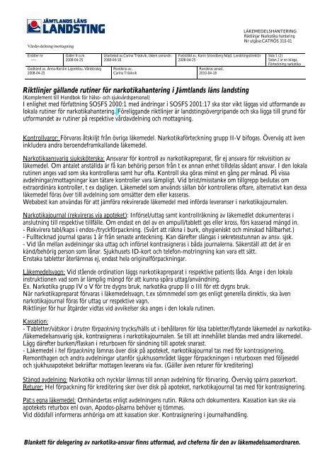 Riktlinjer gällande rutiner för narkotikahantering i Jämtlands läns ...