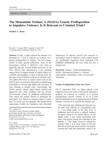 the monoamine oxidase a gene essay Several mutations and polymorphisms of the monoamine oxidase a gene have been previously described (13,18–20) the recent discovery of a new polymorphism in the promoter of the gene (21) led us to characterize it functionally using a luciferase reporter gene assay and to investigate it for association with panic.