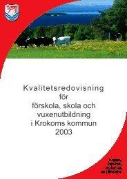 Kvalitetsredovisning 2003 - Krokoms kommun
