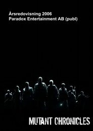 Årsredovisning 2006 Paradox Entertainment AB (publ)