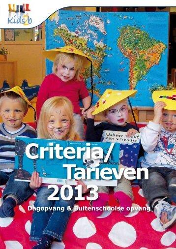 Criteria/Tarieven 2013 - Kids2b