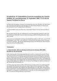 Protokoll der 35. Ordentlichen Generalversammlung der Sunstar ...