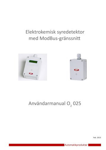 Elektrokemisk syredetektor med ModBus-gränssnitt ...