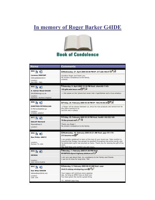 In memory of Roger Barker G4IDE - Here - Ham-radio.ch
