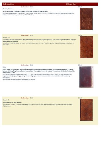 Oude drukken Old and Rare - Antiquariaat Clio / Cliobook