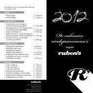 De culinaire eindejaarsmenu's van - Restaurant Ruben's