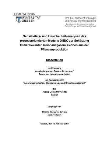 Sensitivitäts- und Unsicherheitsanalysen des prozessorientierten ...