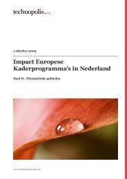 Impact Europese Kaderprogramma's in Nederland - Technopolis ...