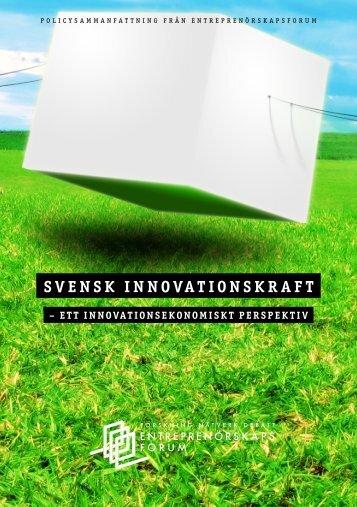 SVENSK INNOVATIONSKRAFT - Entreprenörskapsforum